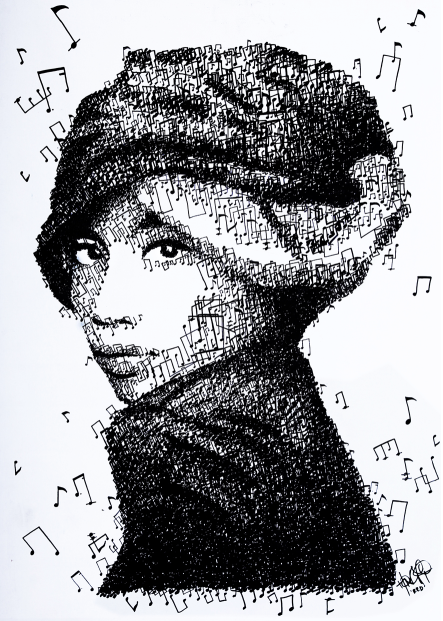 Singer-songwriter Yuna made of thousands of musical notes, by Red/Hong Yi
