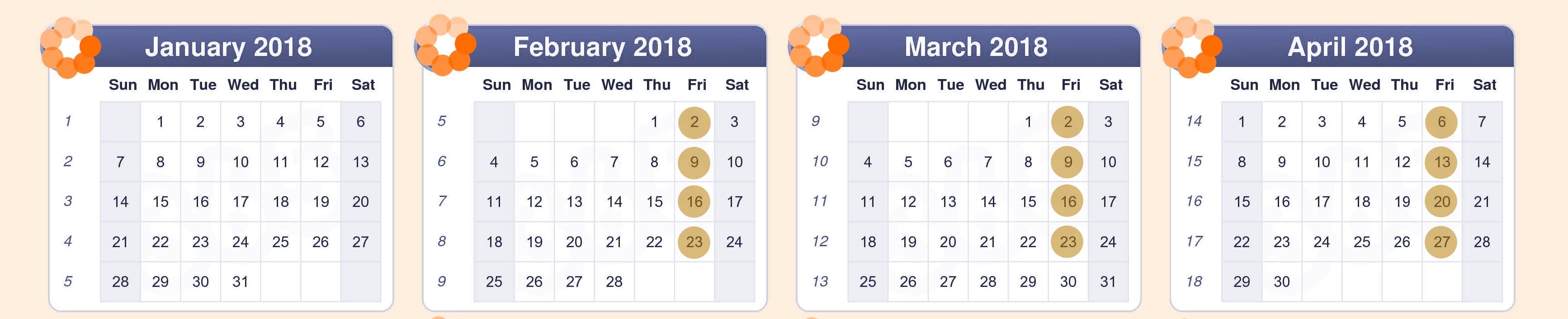 Teachers' Room Dates 2018