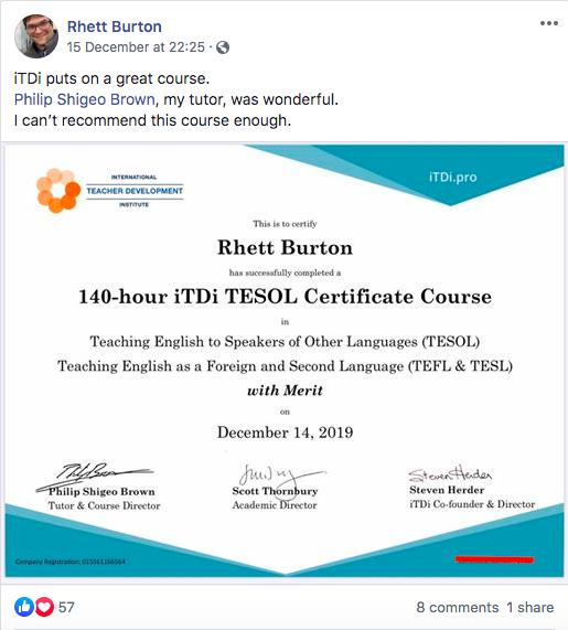 iTDi TESOL testimonial